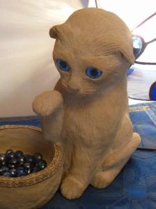Vílí koťátko - ruční práce - umělý pískovec a vitráže